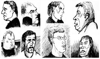 Gesichter aus dem Gerichtssaal (Zeichnung: urian)