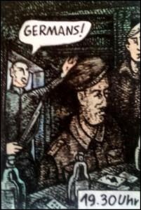 Himmlers Festnahme in Meinstedt (Zeichnung: urian)