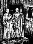 Grothmann und Macher im Lager Kolkhagen (Zeichnung: urian)