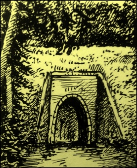 Tunnel und Bahndamm in Fakensieps (Zeichnüng: urian)